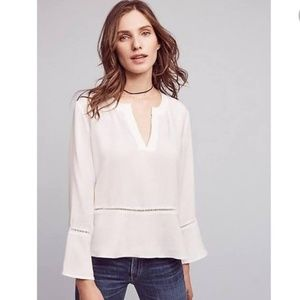 Cloth & Stone Bell Sleeve Top White Size XS